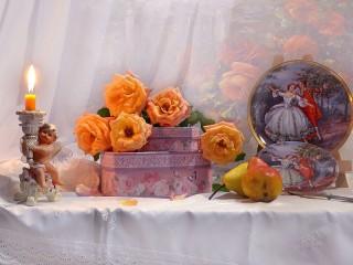 Собирать пазл Розы и шкатулка онлайн