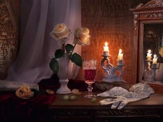 Собирать пазл Розы и свечи онлайн