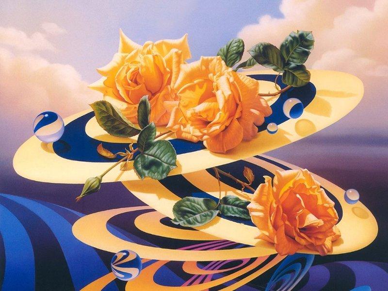 Пазл Собирать пазлы онлайн - Розы на дисках