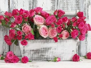 Собирать пазл Розы в ящике онлайн