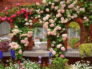Собирать пазл Розовая беседка в саду онлайн