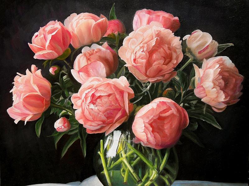 Пазл Собирать пазлы онлайн - Розовые пионы
