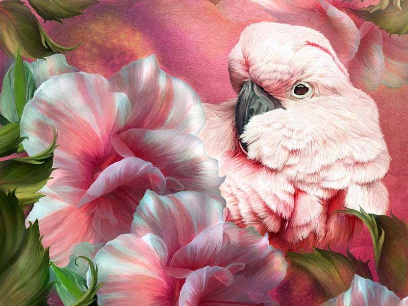 Пазл Собирать пазлы онлайн - Розовый какаду