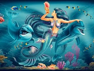 Собирать пазл Русалка и Дельфины онлайн