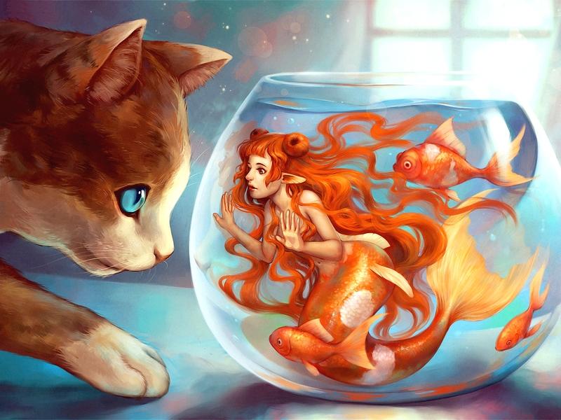 Пазл Собирать пазлы онлайн - Русалка и кот