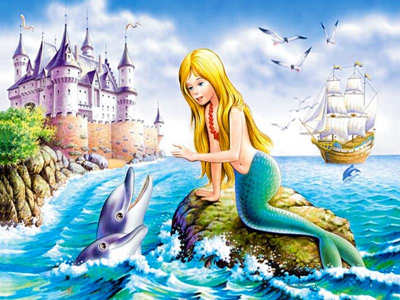 Пазл Собирать пазлы онлайн - Русалочка и дельфины