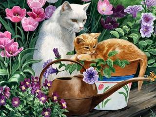 Собирать пазл Сад кошки онлайн