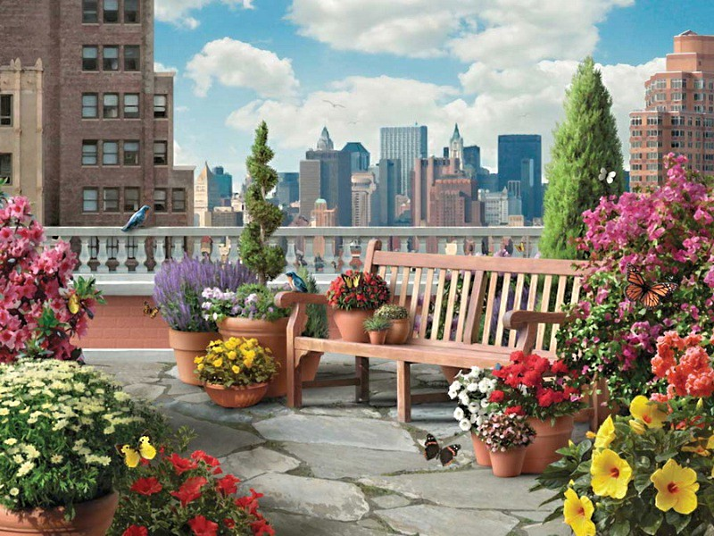Пазл Собирать пазлы онлайн - Сад на крыше