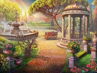 Собирать пазл Сад с фонтаном онлайн