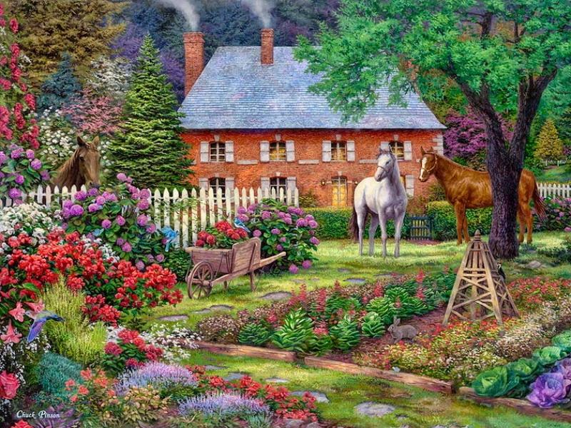 Пазл Собирать пазлы онлайн - Сад в цвету