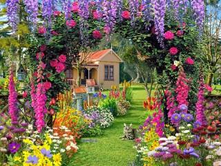 Собирать пазл Садовые цветы онлайн