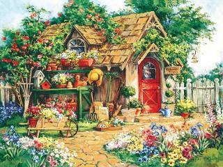 Собирать пазл Садовый сарайчик онлайн