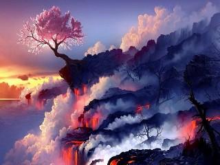 Собирать пазл Сакура и лава онлайн