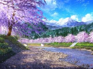 Собирать пазл Сакура у реки онлайн