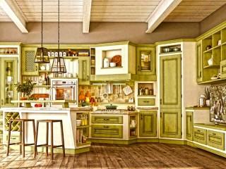 Собирать пазл Салатовая кухня онлайн