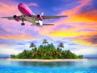 Собирать пазл Самолёт над островом онлайн