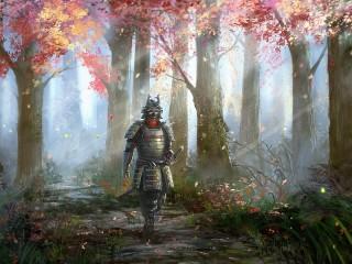 Собирать пазл Самурай и осень онлайн