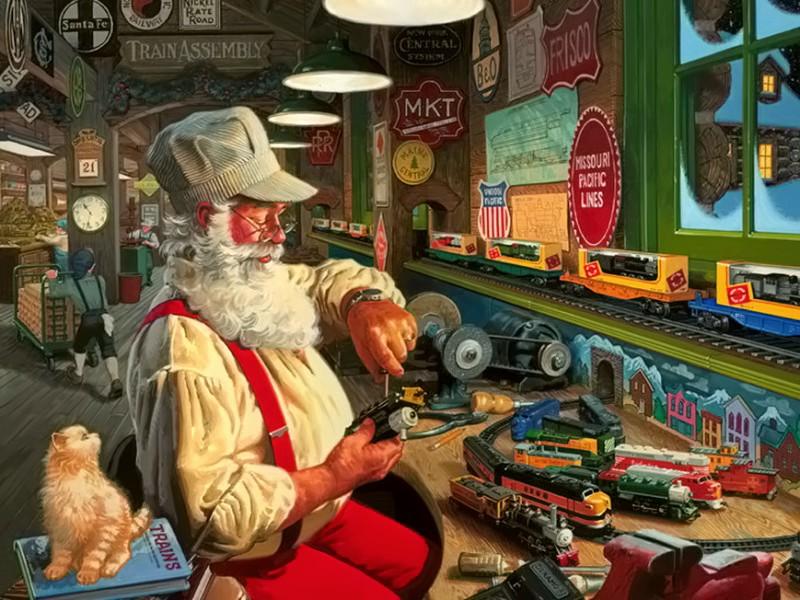 Пазл Собирать пазлы онлайн - Санта-Клаус