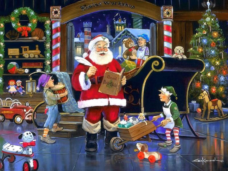 Пазл Собирать пазлы онлайн - Санта-Клаус за работой
