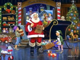 Собирать пазл Санта-Клаус за работой онлайн