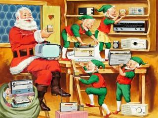 Собирать пазл Санта-Клаус и гномы онлайн