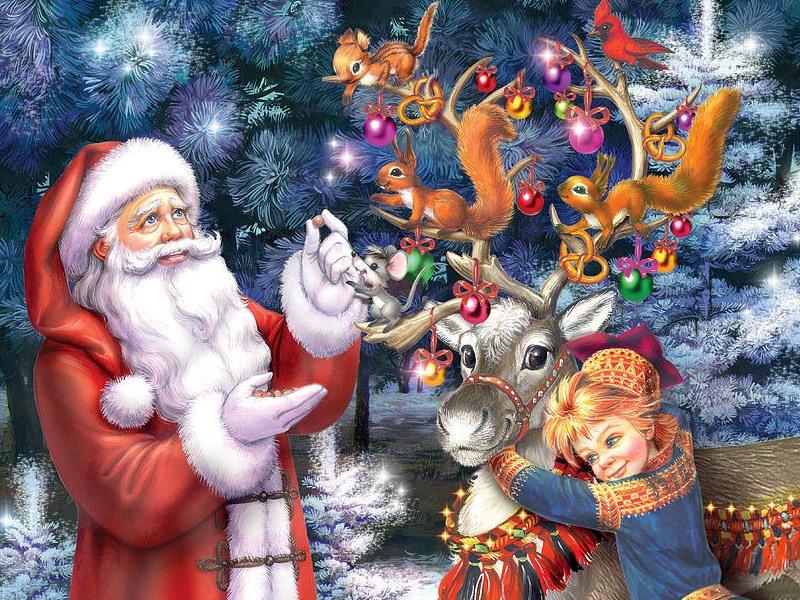 Пазл Собирать пазлы онлайн - Санта и эльф