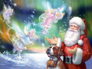 Собирать пазл Санта и феи онлайн