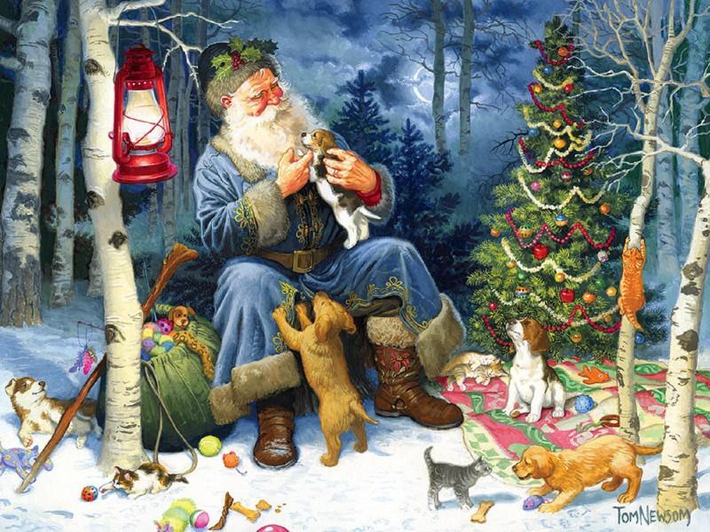 Пазл Собирать пазлы онлайн - Санта и животные 1