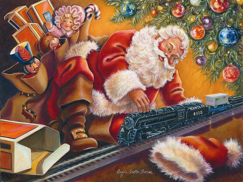 Пазл Собирать пазлы онлайн - Санта играет