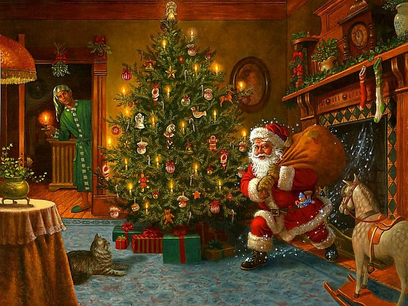 Пазл Собирать пазлы онлайн - Санта из камина