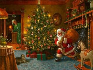 Собирать пазл Санта из камина онлайн