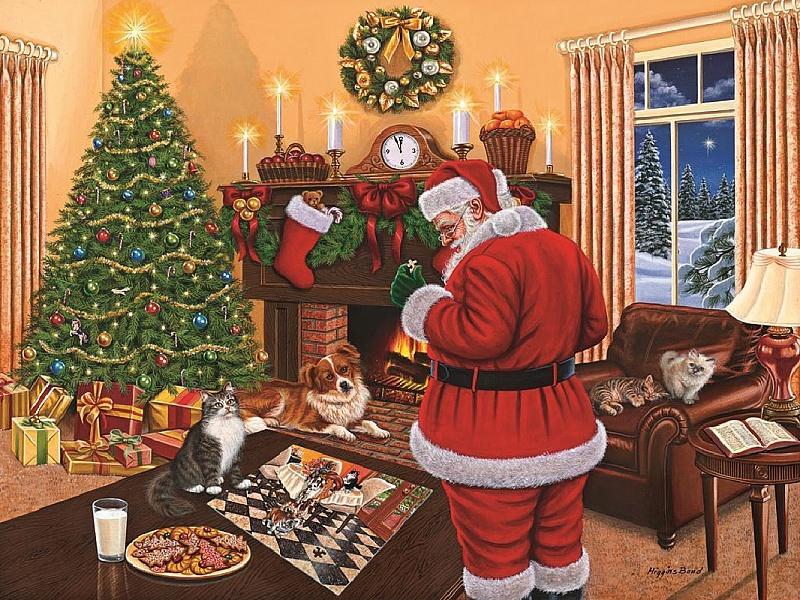 Пазл Собирать пазлы онлайн - Санта Клаус и пазлы