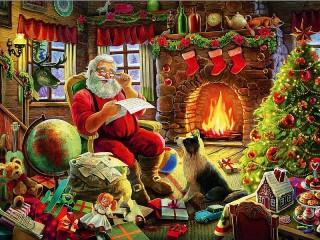 Собирать пазл Санта Клаус у камина онлайн
