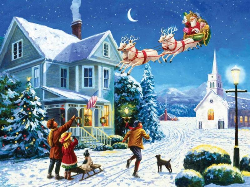 Пазл Собирать пазлы онлайн - Санта прилетел