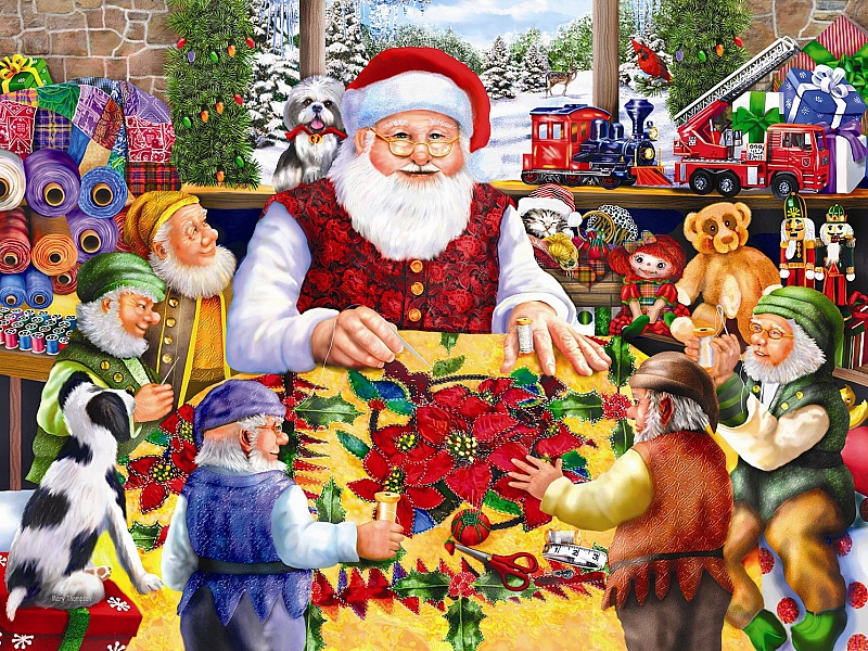 Пазл Собирать пазлы онлайн - Санта шьет