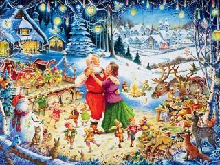 Собирать пазл Санта танцует онлайн