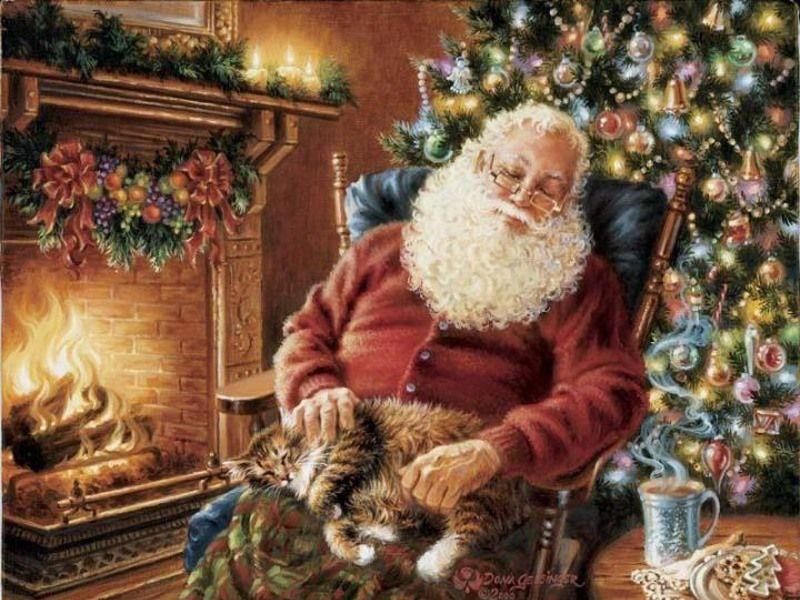 Пазл Собирать пазлы онлайн - Санта устал