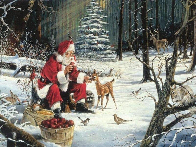 Пазл Собирать пазлы онлайн - Санта в лесу
