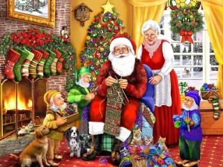 Собирать пазл Санта вяжет онлайн