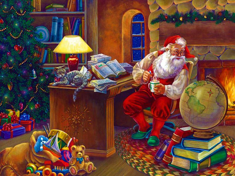Пазл Собирать пазлы онлайн - Санта за работой