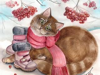 Собирать пазл Сапожки для кошки онлайн