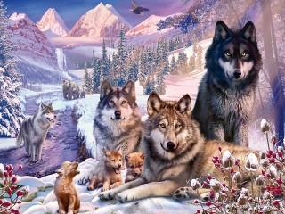 Собирать пазл Семейства волков онлайн