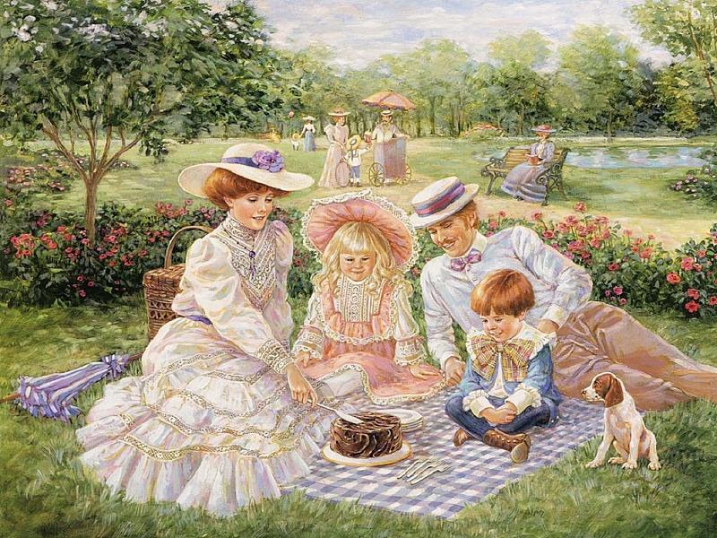 Пазл Собирать пазлы онлайн - Семейный пикник
