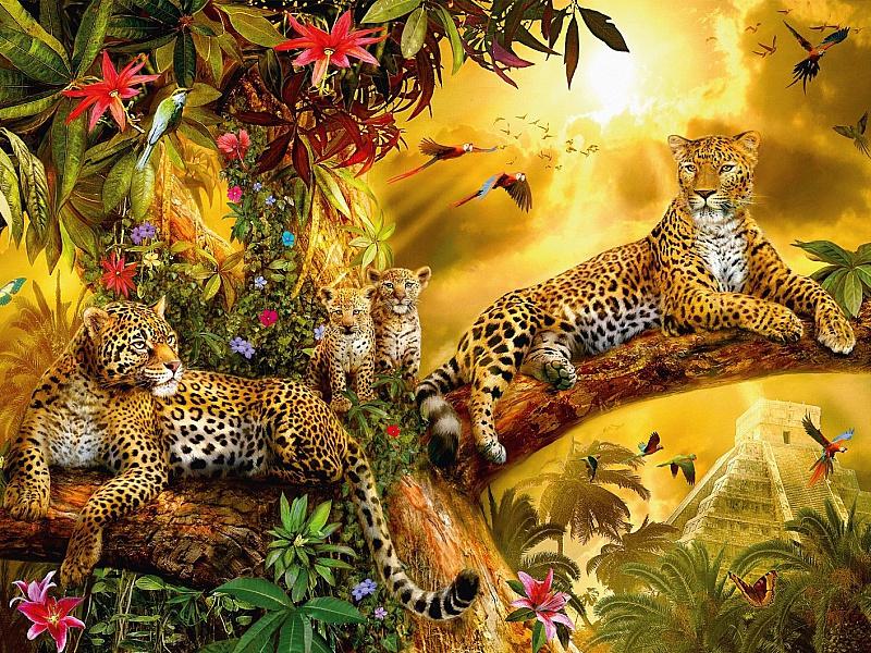 Пазл Собирать пазлы онлайн - Семейство леопардов