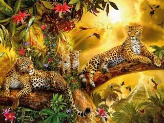 Собирать пазл Семейство леопардов онлайн