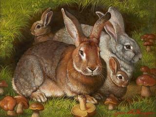 Собирать пазл Семья кроликов онлайн