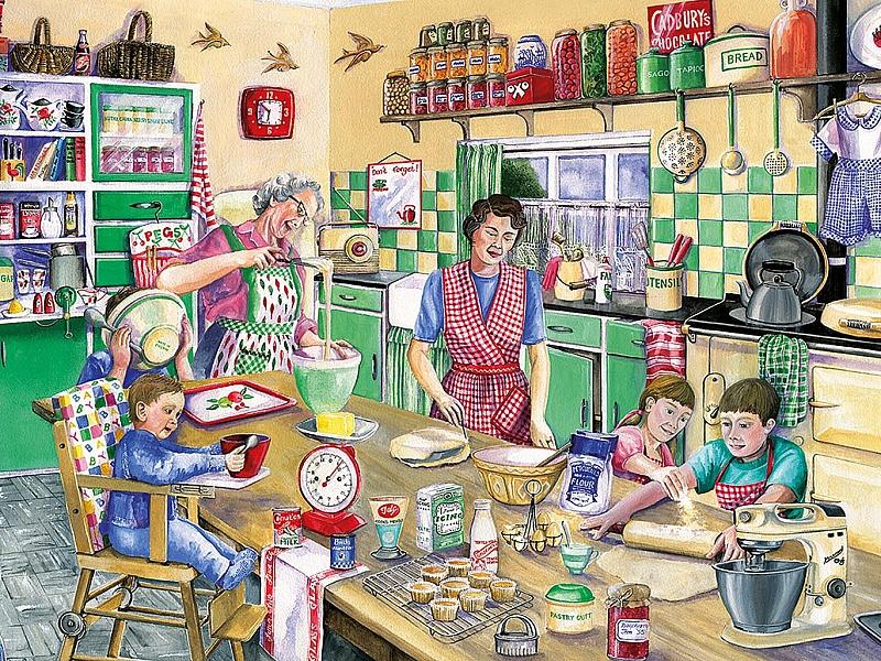 Собирать пазлы онлайн - Семья на кухне Сега Приколы