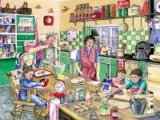 Собирать пазл Семья на кухне онлайн