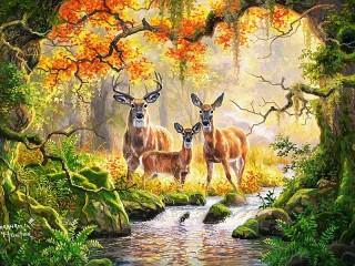 Собирать пазл Семья оленей онлайн