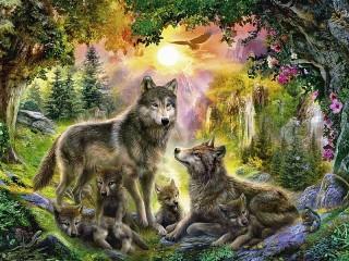 Собирать пазл Семья волка онлайн
